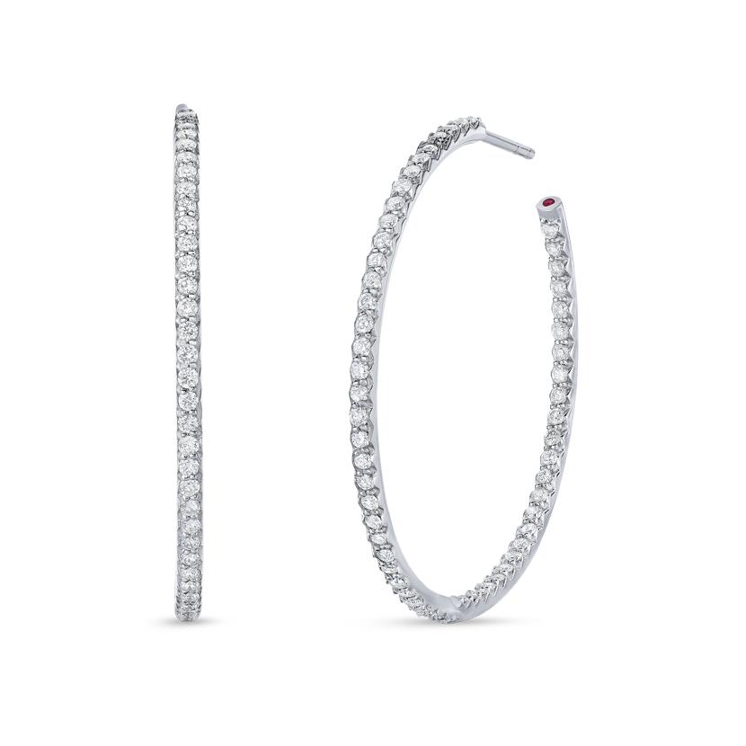 Large Inside Outside Diamond Hoop Earrings 000601AWERX0