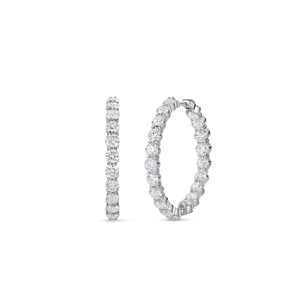 Inside Outside Diamond Hoop Earrings 000784AWERX0