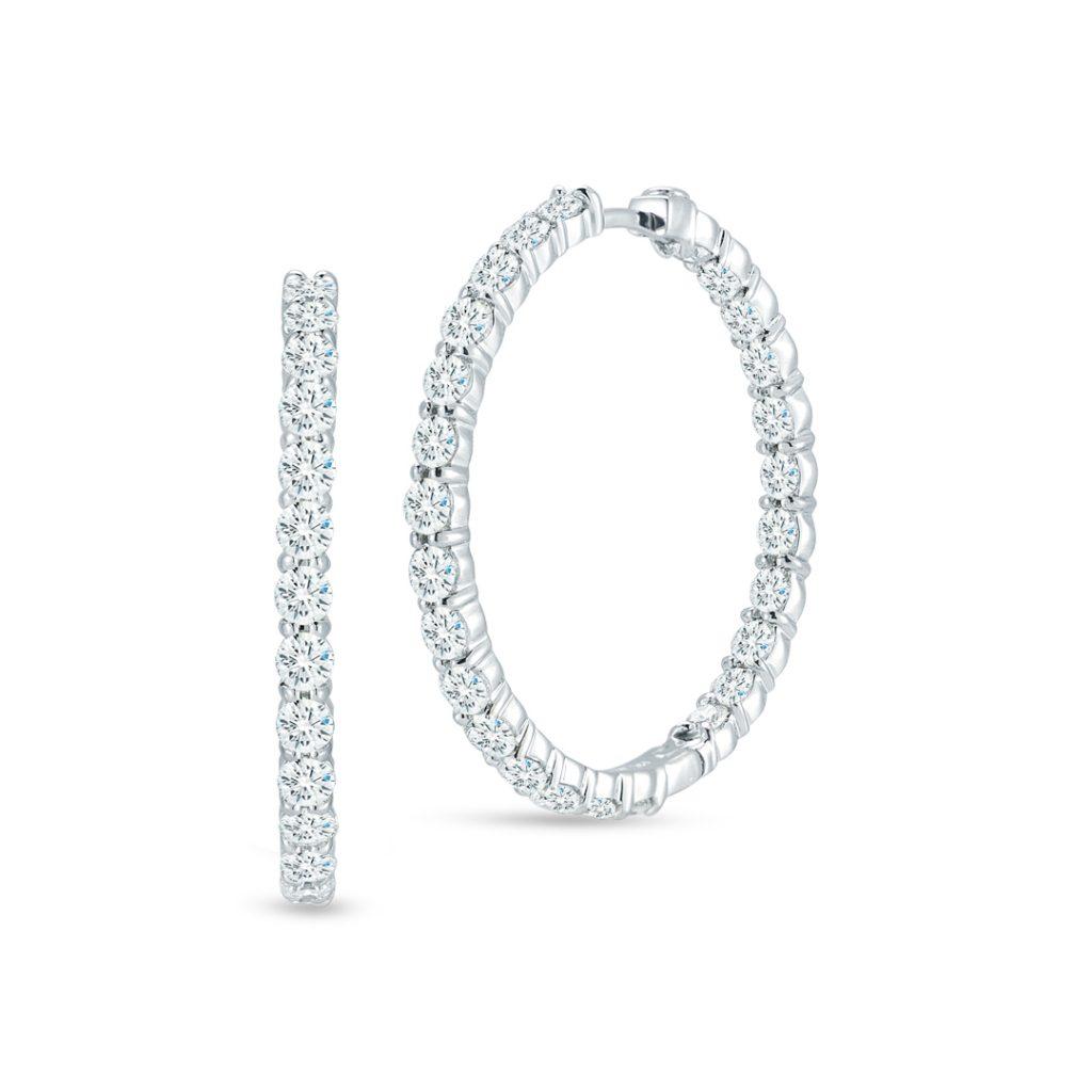 Large Inside Outside Diamond Hoop Earrings 001046AWERX0
