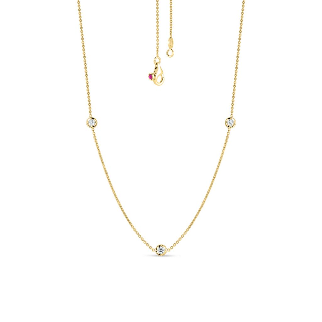 Gold Necklace with 3 Diamond Stations 001317AYCHD0