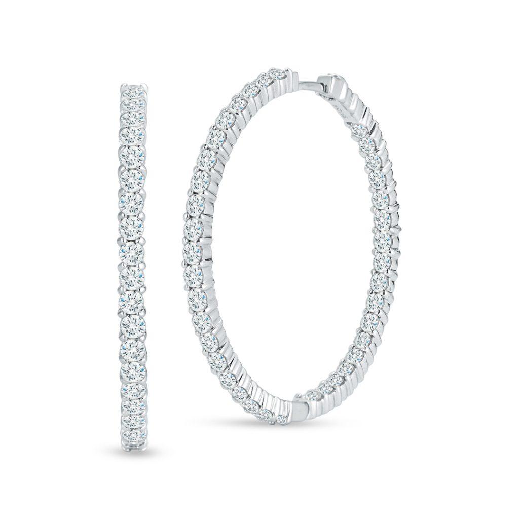 Large Inside Outside Diamond Hoop Earrings 001615AWERX0