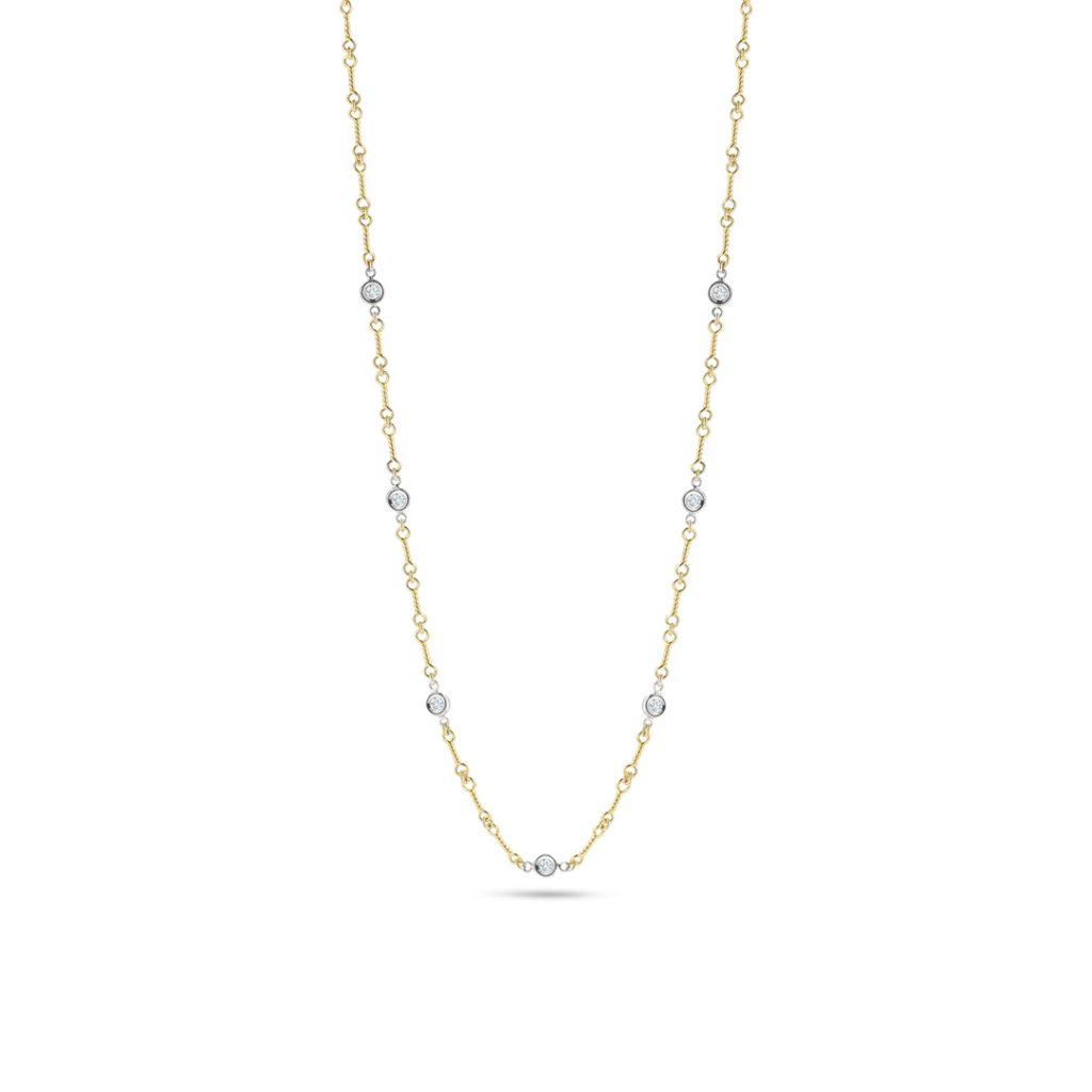 Dogbone Chain Necklace with Diamond Stations 001824AJ18X0