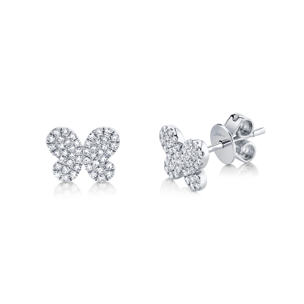 Diamond Pave Butterfly Stud Earring