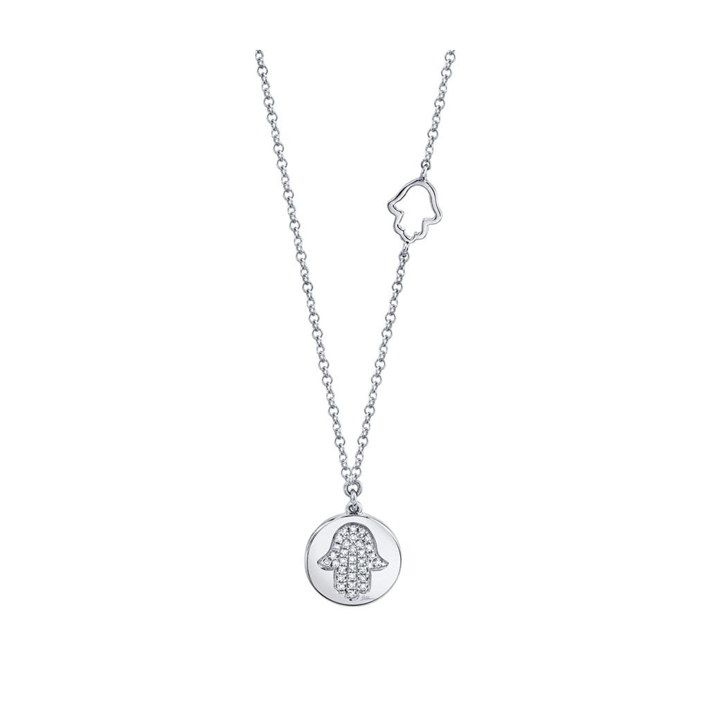 Diamond Pave Hamsa Disc Necklace