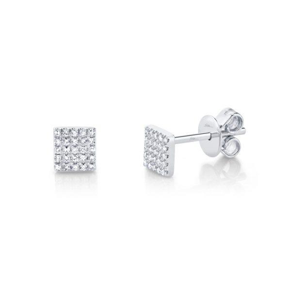 Diamond Pave Square Stud Earring