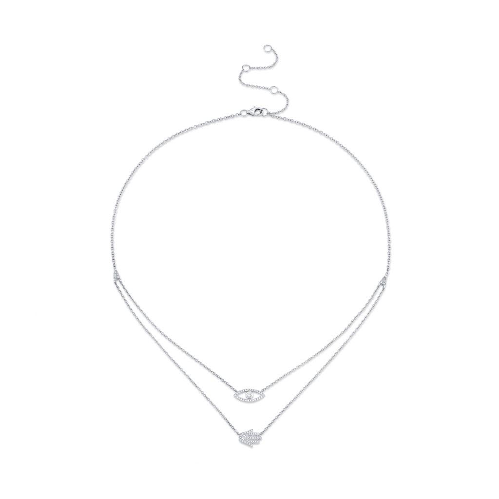 Diamond Eye & Hamsa Necklace