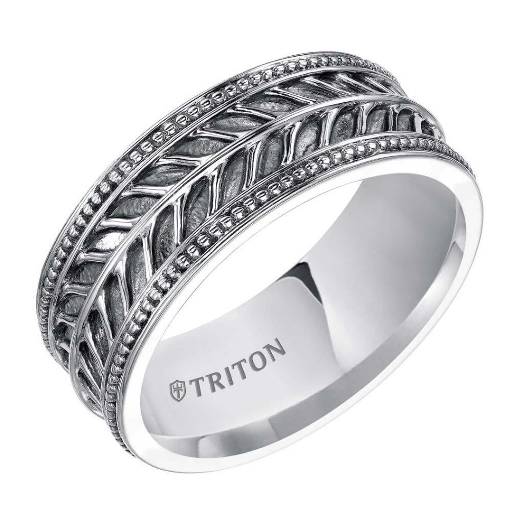 Triton 10mm Silver Men's Wedding Band - 11-4933SV-G