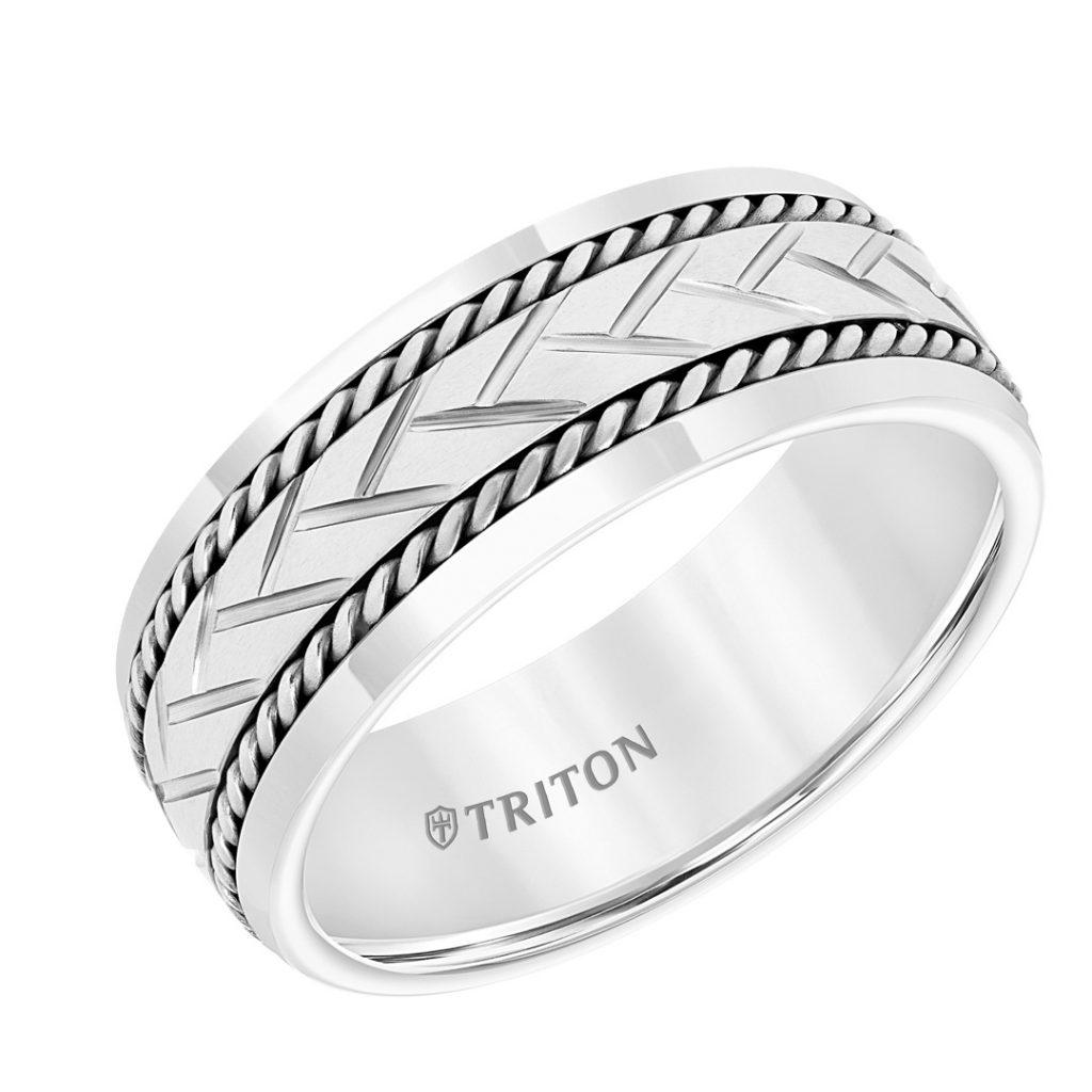 Triton 8mm Tungsten Men's Wedding Band - 11-5942SHC8-G