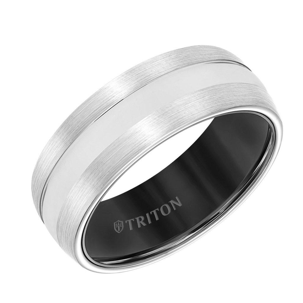 Triton 8mm Tungsten Men's Wedding Band - 11-5943MCB8-G