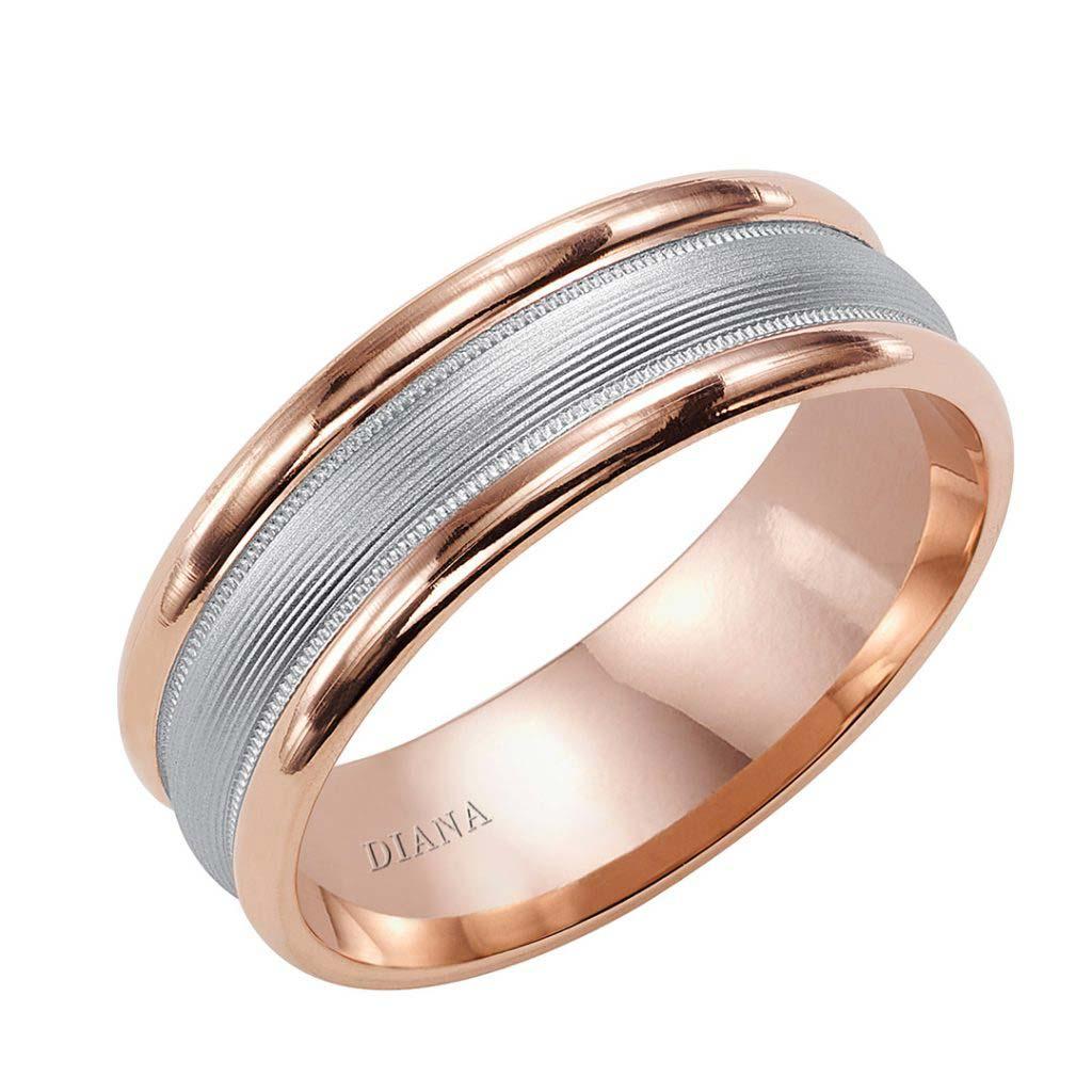 Diana 7mm Comfort Fit Engraved Brushed Finish Men's Wedding Band
