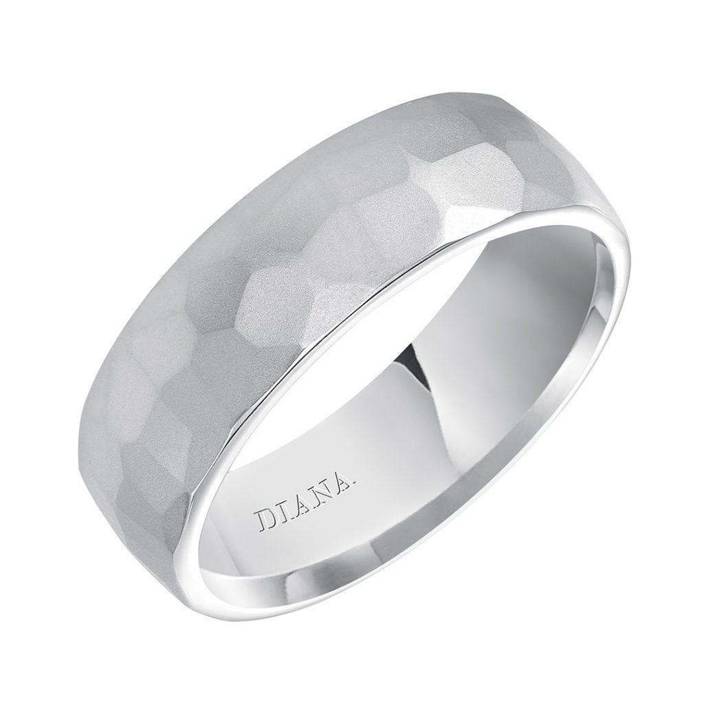 Diana 7mm Comfort Fit Hammered Men's Wedding Band