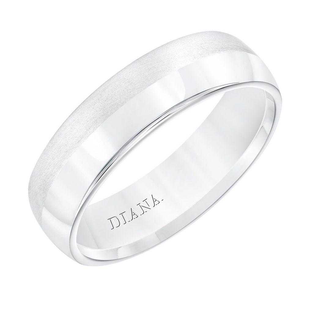 Diana 6mm Domed Brush Finish Men's Wedding Band