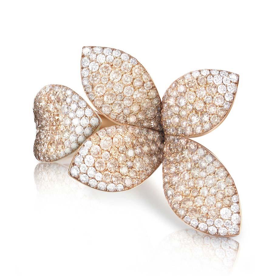 Giardini Segreti Champagne Diamonds and Diamonds Ring