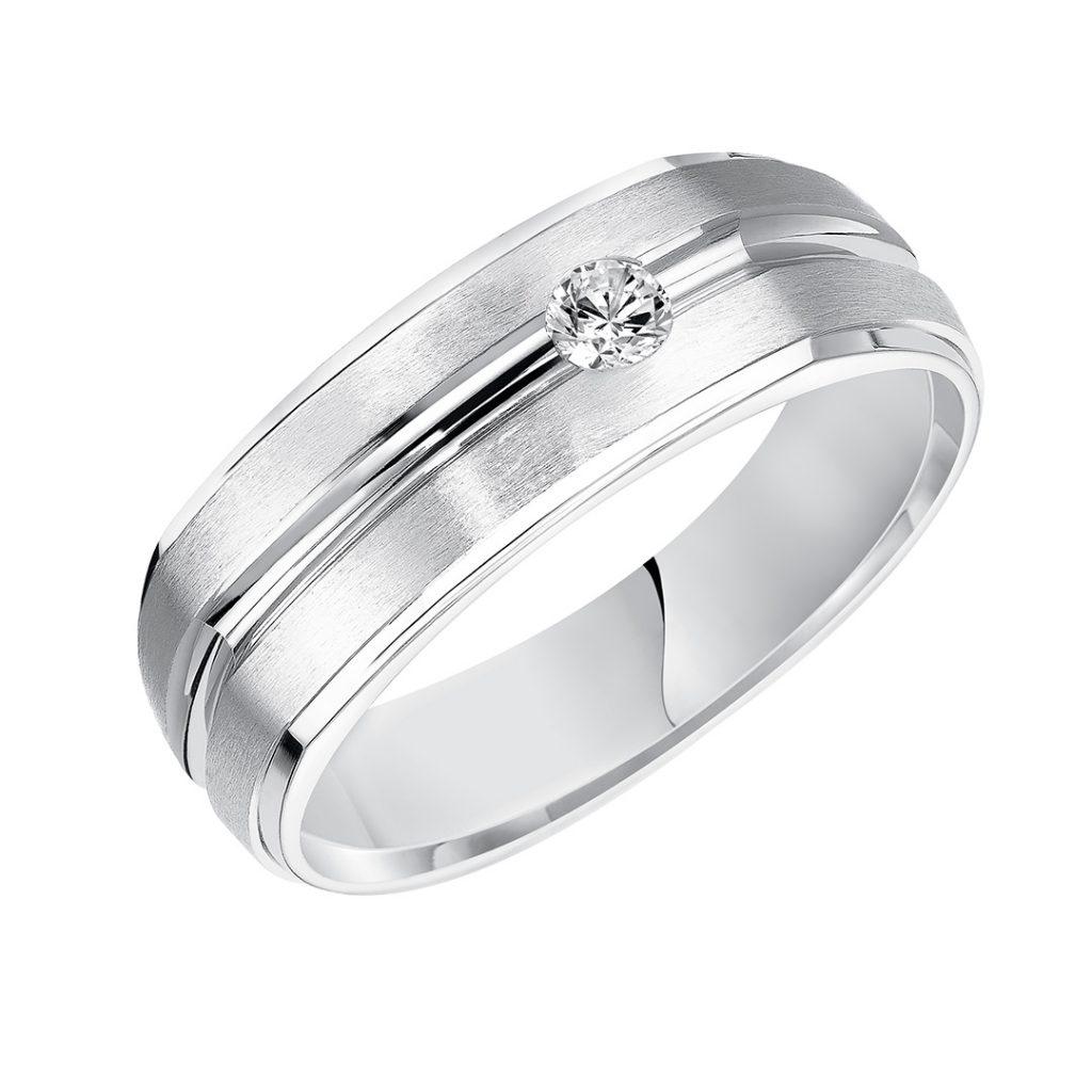 Goldman 7.5mm Contemporary Diamond Men's Wedding Band
