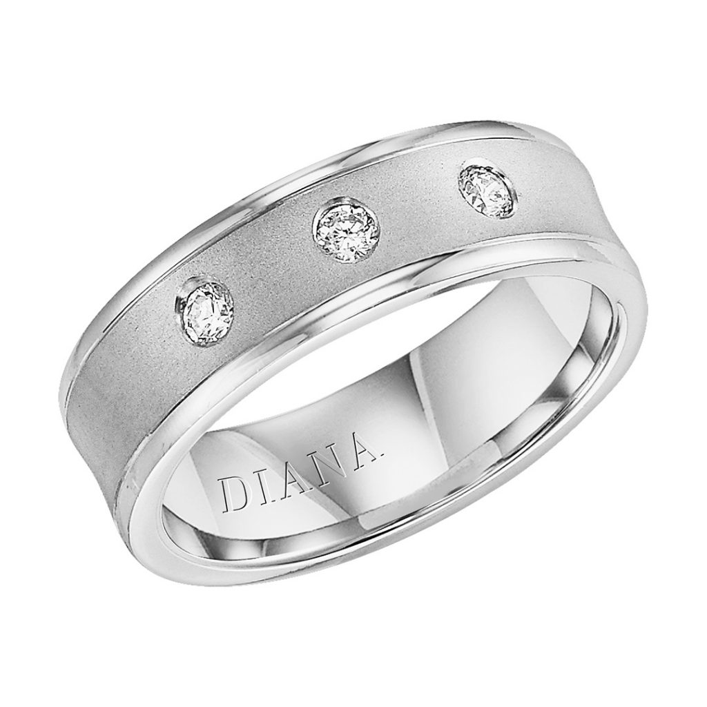 Diana 7mm Comfort Fit Lustre Men's Diamond Wedding Band