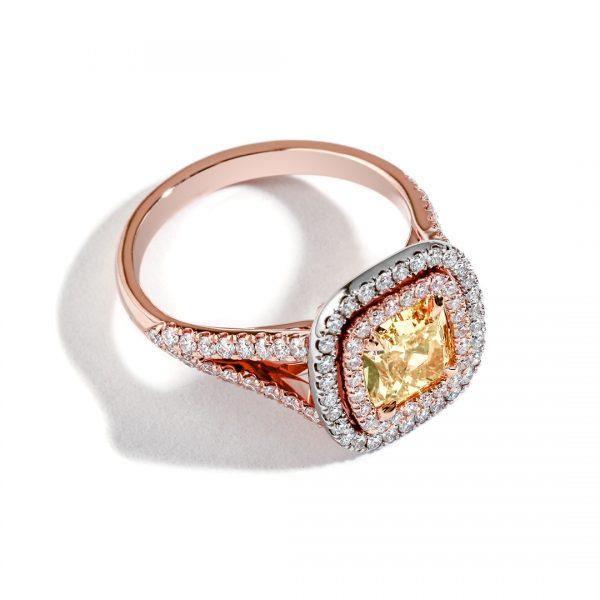 Double Halo Yellow Diamond Engagement Ring 29418