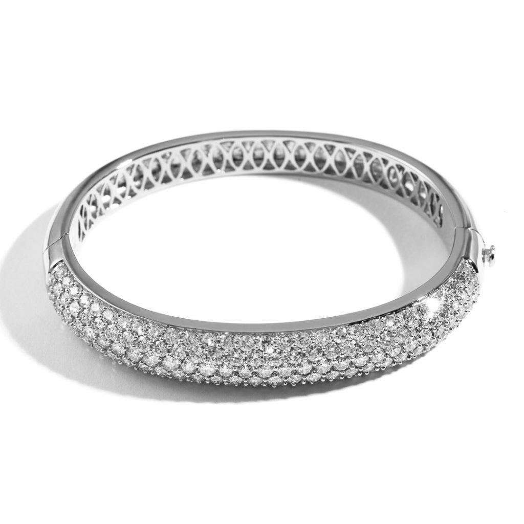 Large Domed Diamond Bangle