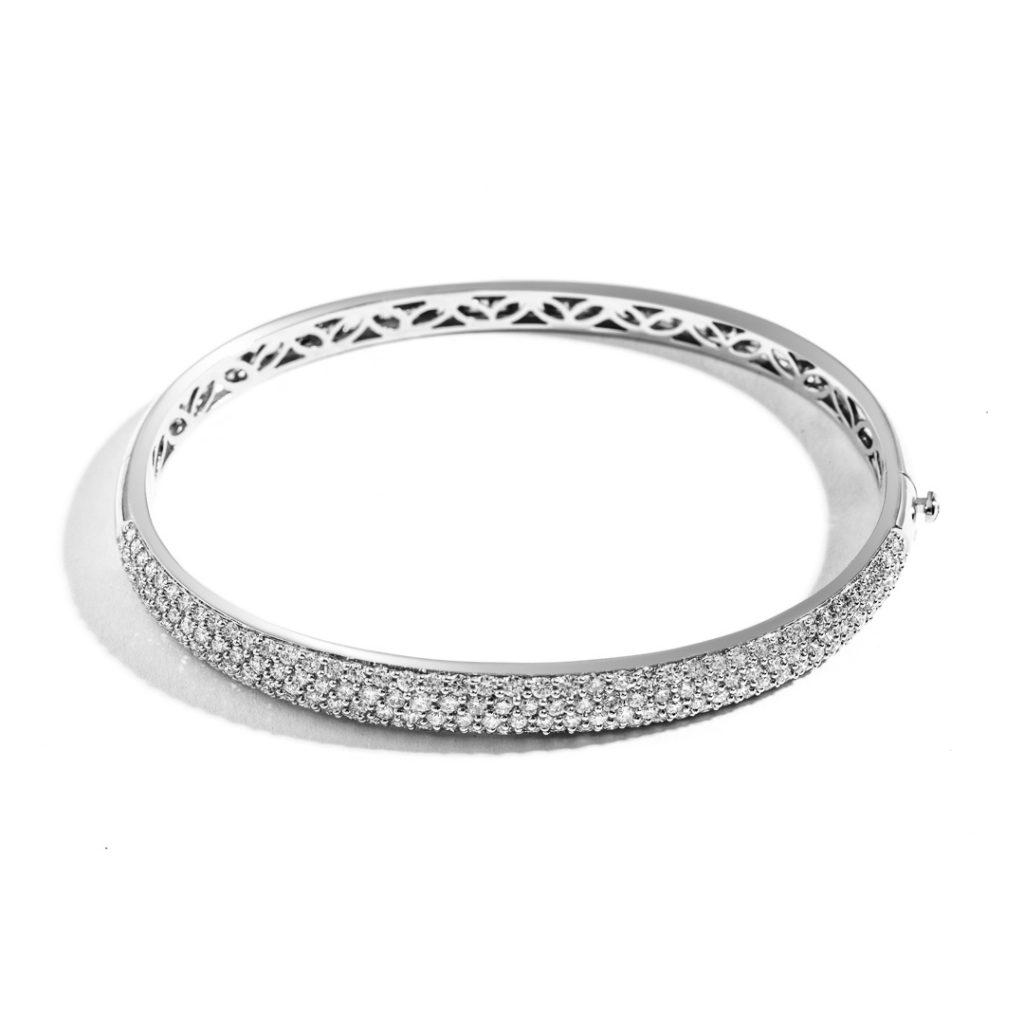 Medium Domed Diamond Bangle
