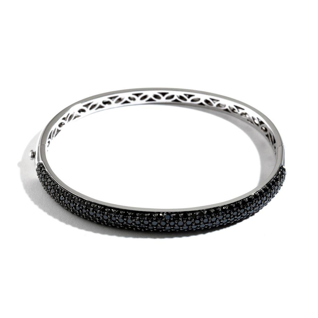 Medium Domed Black Diamond Bangle
