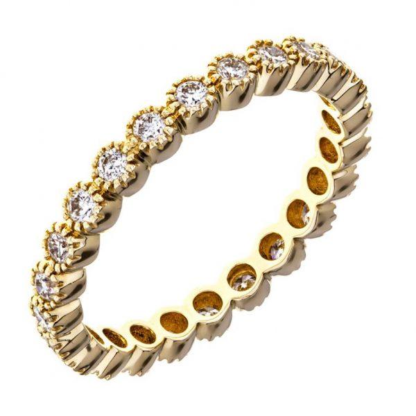 Simple Elegance Yellow Gold Bezel Set Diamond Ring