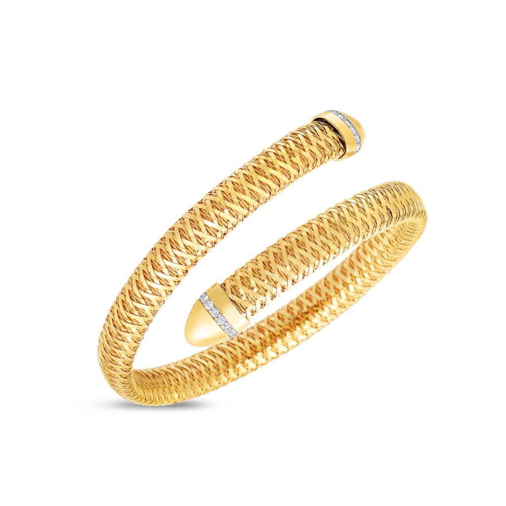 Flexible Snake Cuff with Diamonds 5573967AJBAX