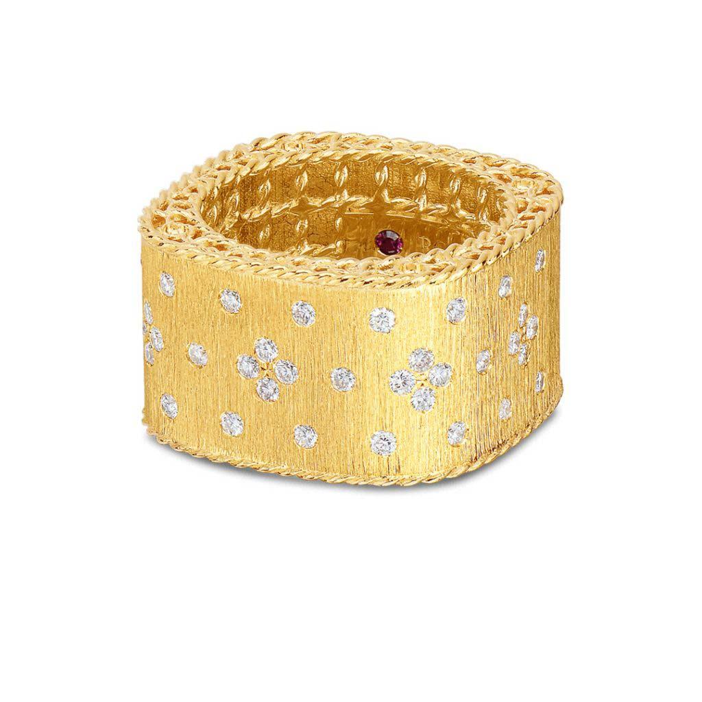 Satin Finish Ring with Fleur De Lis Diamonds 7771195AY65X