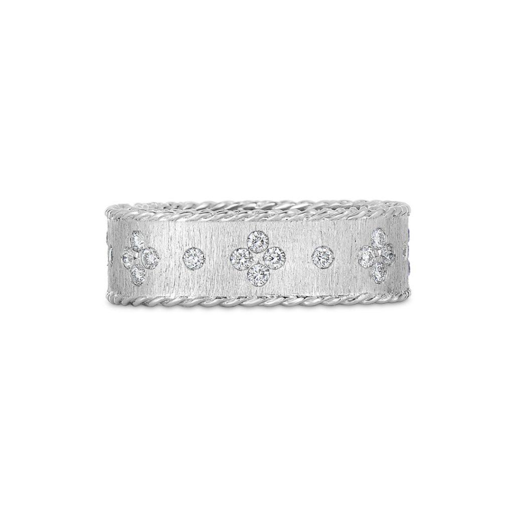 Satin Finish Ring with Fleur De Lis Diamonds 7771211AW65X