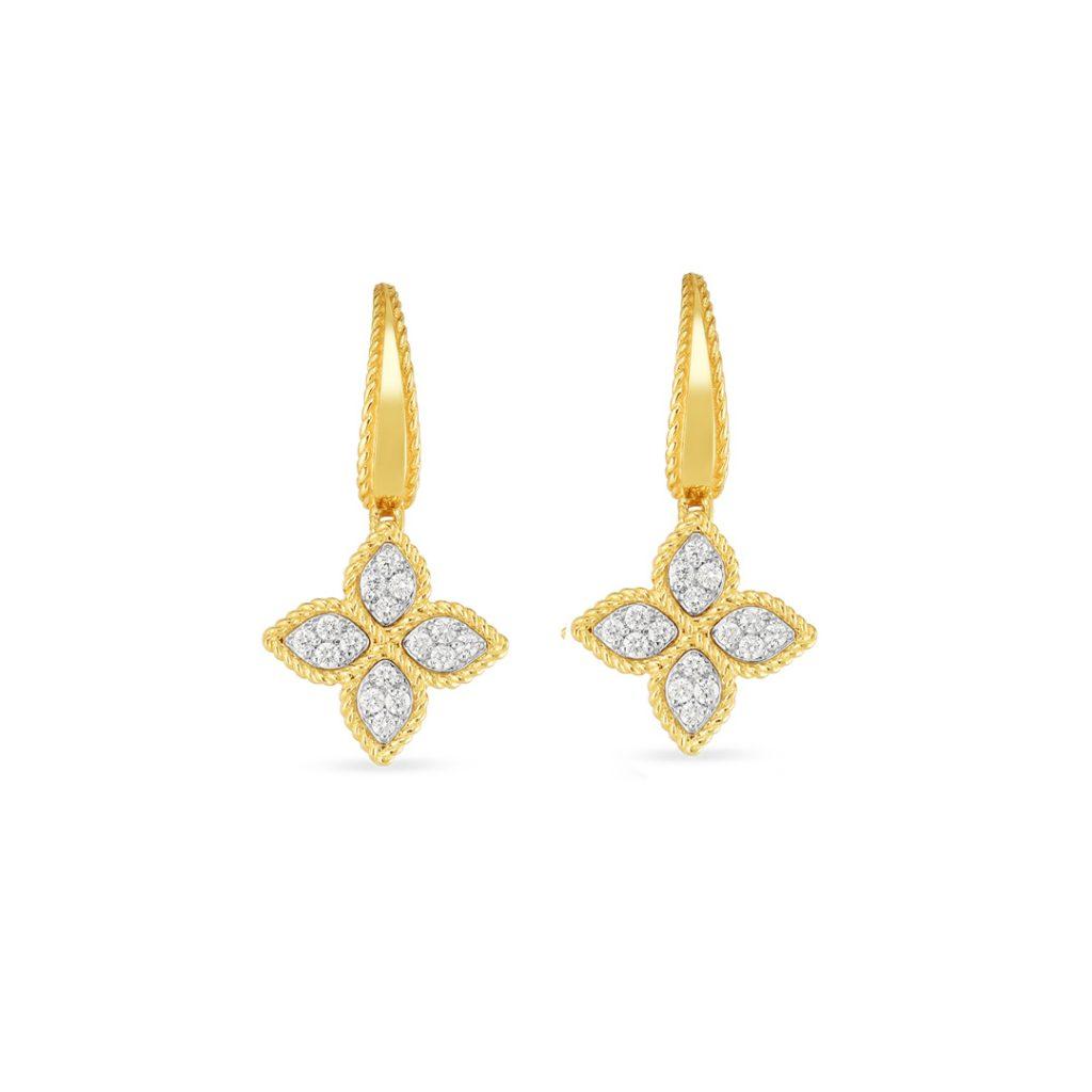 Gold and Diamond Medium Flower Drop Earring 7771970AJERX