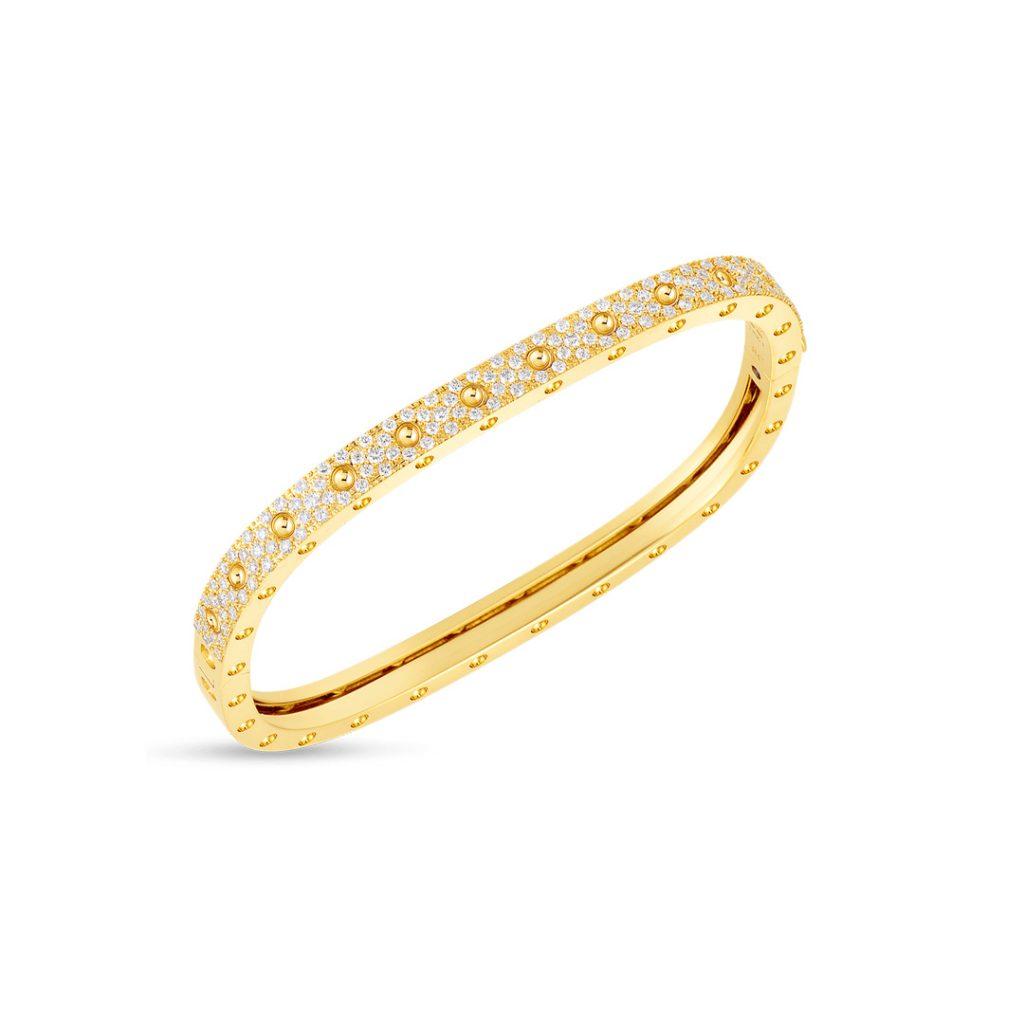 Gold 1 Row Square Bangle with Diamonds 888691AYBAXS