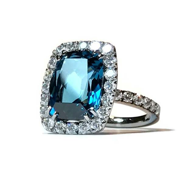 Dynamite Cocktail Ring with London Blue Topaz and Diamonds A1301NUL11