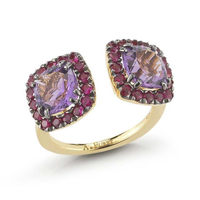 Dynamite Double Stones Ring with Amethyst and Rubies A1322GNA2