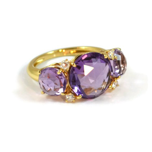 Lilies Trilogy Ring with Amethysts and Diamonds A1400GAA1