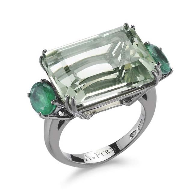 Party Cocktail Ring with Prasiolite and Emeralds A1500NP3