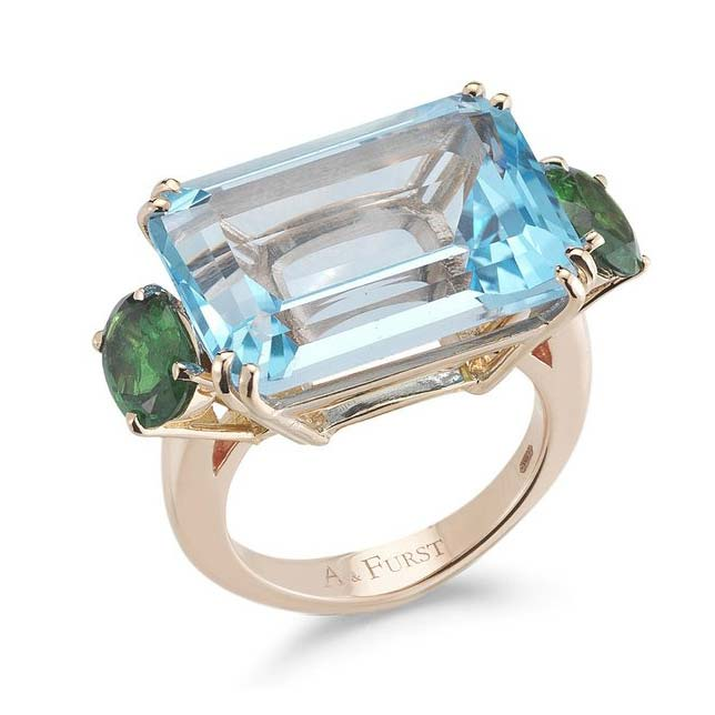 Party Cocktail Ring with Blue Topaz and Tsavorite Garnet A1500RUTS
