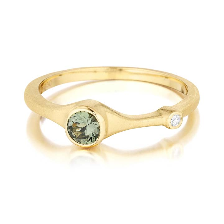 Green Sapphire and Diamond Stack Ring AP824Y8GSD