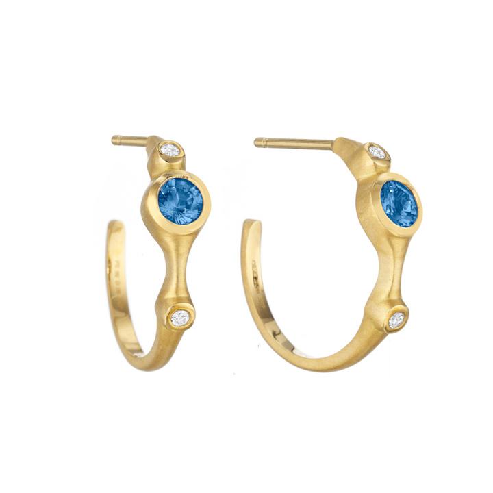 Blue Sapphire and Diamond Stack Mini Hoop Earrings AP841Y8SD
