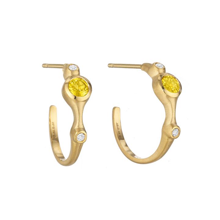 Yellow Sapphire and Diamond Stack Mini Hoop Earrings AP841Y8YSD
