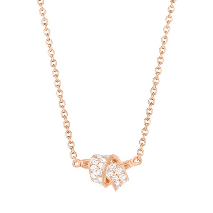 Mini Knot Pave Diamond Pendant in Rose Gold BC581R8D
