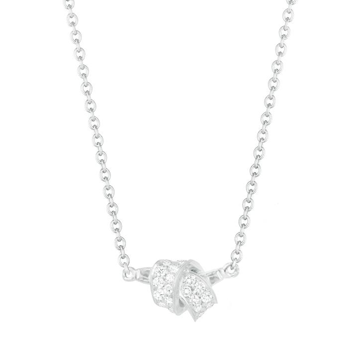Mini Knot Pave Diamond Pendant in White Gold BC581W8D