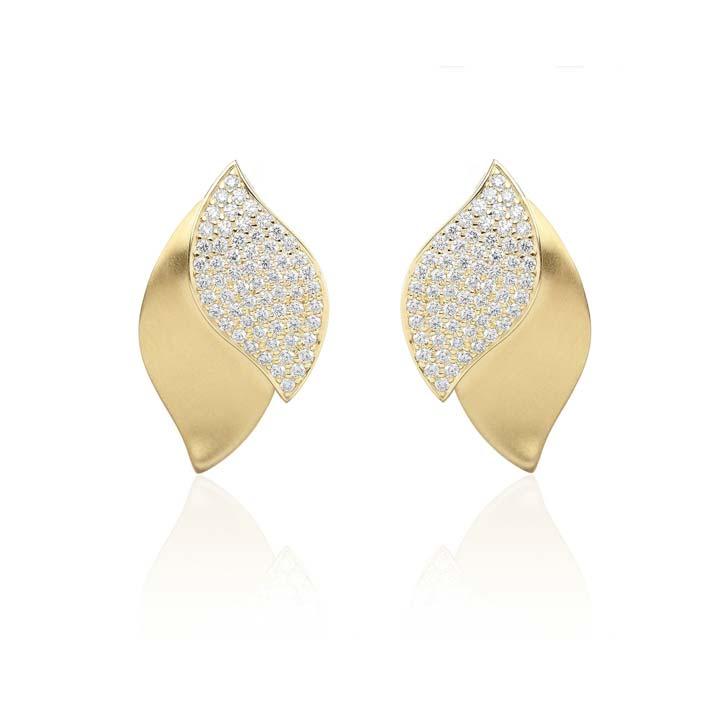 Lotus One Leaf Pave Diamond Earrings BG637Y8D