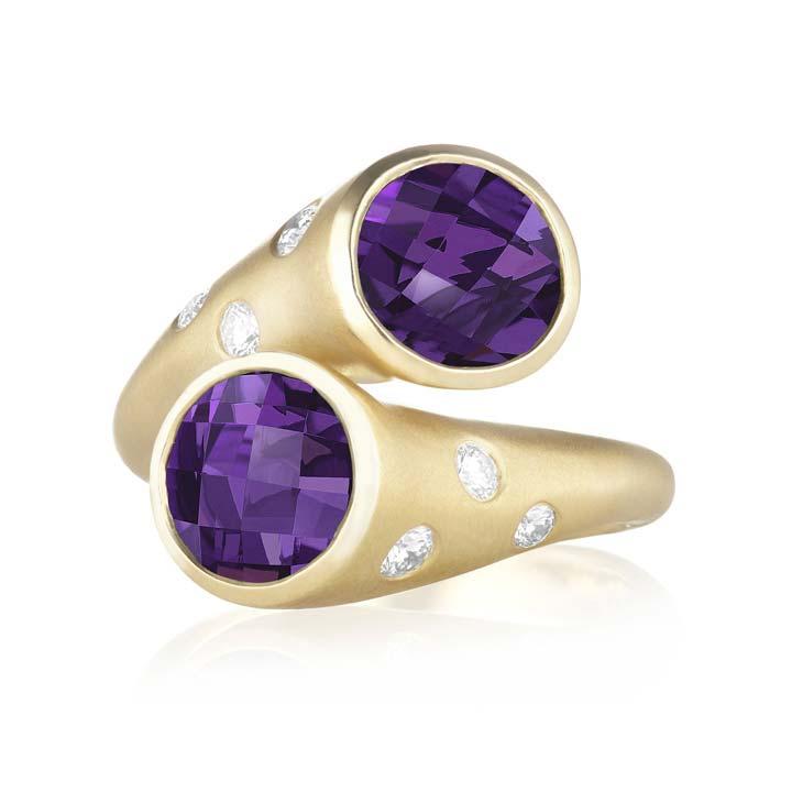 Whirl Amethyst and Burnished Diamond Ring BG824Y8AMD