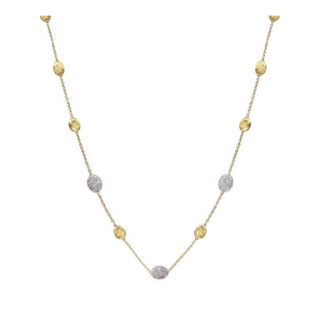 Diamond Pave Small Bead Necklace CB1838-B-YW