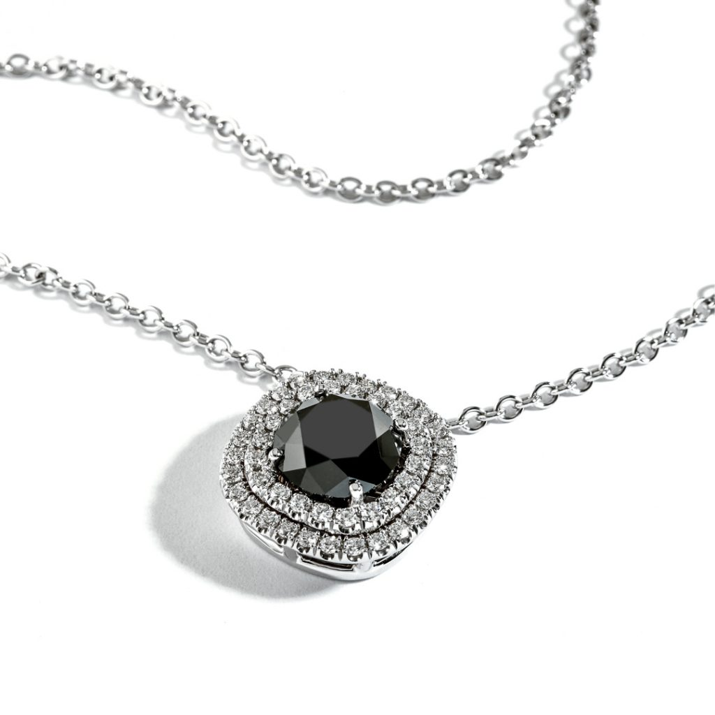 Double Halo with Black Diamond Pendant DN4X00129