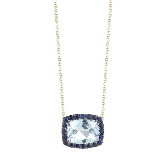 Dynamite Pendant Necklace with Blue Topaz and Blue Sapphires E1341GNU4