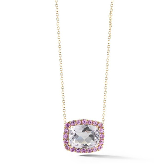 Dynamite Pendant Necklace with Rose de France and Pink Sapphires E1341RRF4R