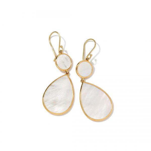 18k Polished Rock Candy Double Drop Earrings in Mother-of-Pearl GE632MOPSL