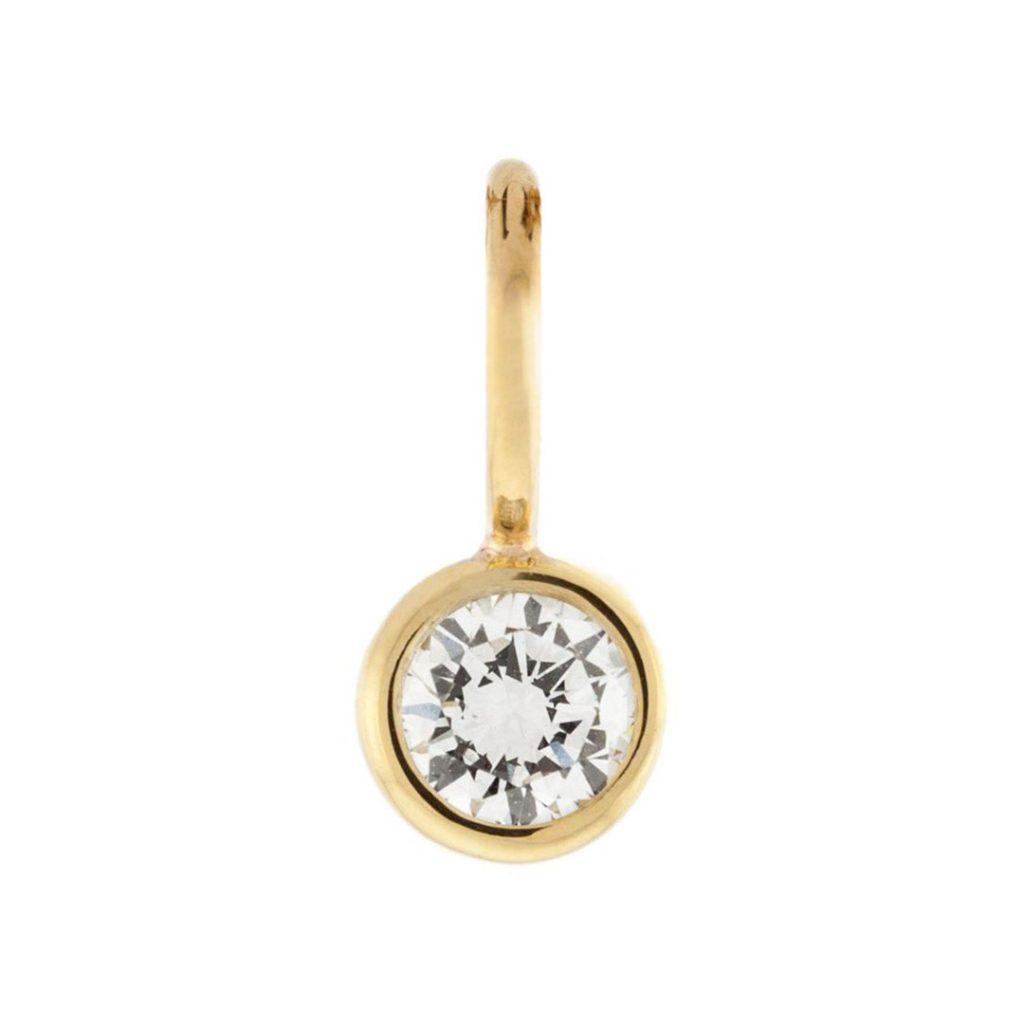 4mm White Diamond Bezel Charm