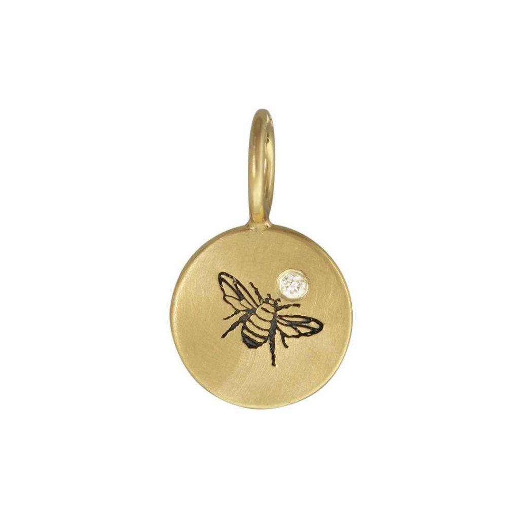 Yellow Gold Bee Round Charm