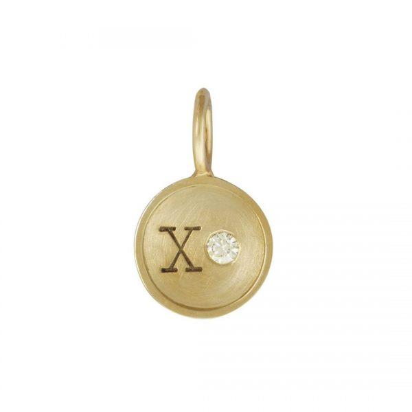 Yellow Gold XO Round Charm