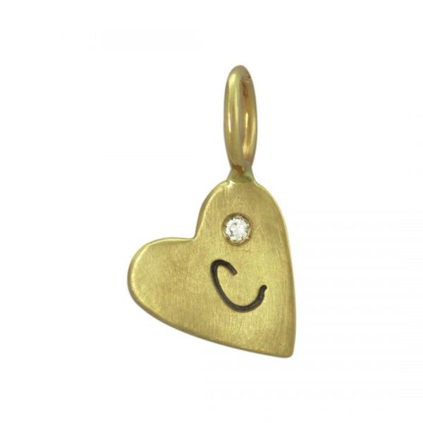 Yellow Gold Initial Heart Charm